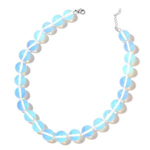 Opalite Beads Silvertone Necklace (18-20 in) TGW 622.50 cts.