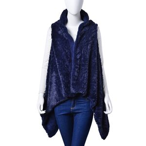 Navy Cozy 100% Polyester Faux Fur Vest (One Size)