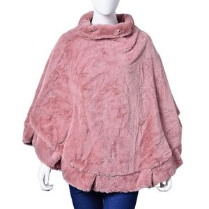 Mauve 100% Polyester Turtleneck Faux Fur Rounded Poncho (One Size)