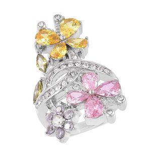 Simulated Multi Color Diamond, White Austrian Crystal Stainless Steel Ring (Size 8.0) TGW 6.20 cts.