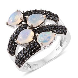 Ethiopian Welo Opal, Thai Black Spinel Platinum Over Sterling Silver Ring (Size 9.0) TGW 3.55 cts.