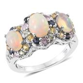 Ethiopian Welo Opal, Multi Sapphire Platinum Over Sterling Silver Ring (Size 7.0) TGW 3.13 cts.