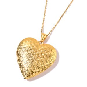 ION Plated YG Stainless Steel Heart Locket Pendant With Chain (24 in)