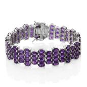 Lusaka Amethyst Platinum Over Sterling Silver Bracelet (8.00 In) TGW 48.80 cts.
