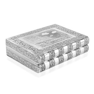 Oxidized Jewelery Box with Goden Gate Embossed on Top (Four Trays and One Bangle Roll Inside) (11x8.5x3 in)