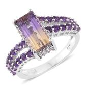 Anahi Ametrine, Amethyst, Cambodian Zircon Platinum Over Sterling Silver Ring (Size 6.0) TGW 3.76 cts.