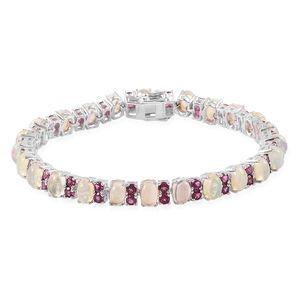 Ethiopian Welo Opal, Orissa Rhodolite Garnet Sterling Silver Bracelet (8.00 In) TGW 13.40 cts.