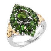 Russian Diopside 14K YG and Platinum Over Sterling Silver Cluster Ring (Size 10.0) TGW 4.19 cts.
