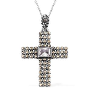 Simulated Diamond, Swiss Marcasite Stainless Steel Cross Pendant With Chain (20 in) TGW 2.30 cts.
