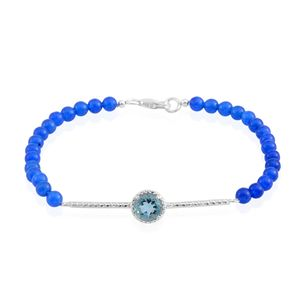 Blue Fluorite, Blue Quartz Beads Sterling Silver Bar Bracelet (7.50 In) TGW 9.30 cts.