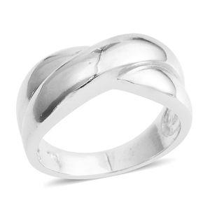 Silvertone Criss Cross Ring (Size 8.5)