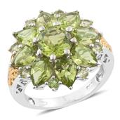Hebei Peridot 14K YG and Platinum Over Sterling Silver Ring (Size 9.0) TGW 7.79 cts.
