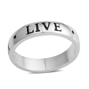 Silvertone Live, Love, Laugh Band Ring (Size 6.5)