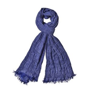 Navy Blue 100% Polyester Ikat Pattern Scarf (80x36 in)