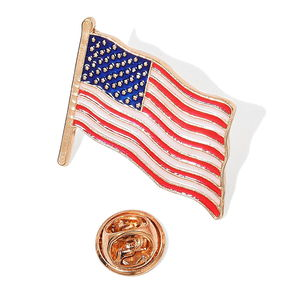 Enameled Goldtone US Flag Pin