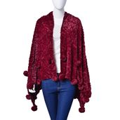 Burgundy 100% Polyester and Faux Fur Rose Pattern Pom Pom Stole (60x32 in)