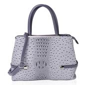 Gray Ostrich Skin Pattern Faux Leather Tote Bag (15x5x10.3 in)