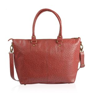 Red Ostrich Skin Embossed Genuine Leather Tote with Standing Studs and Removable Strap (42 in) (14x4.75x11.5 in)