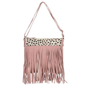 Mauve Genuine Suede RFID Fringe Crossbody Messenger Bag (12x1.5x11 in)