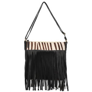 Black Genuine Leather RFID Braided Sling Bag with Fringe (11x2.25 x10.25 in)