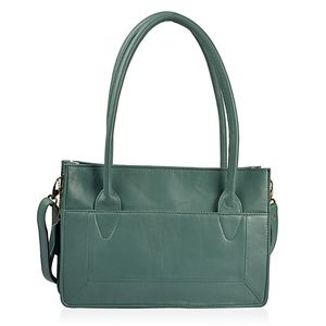 Green Genuine Leather RFID Tote Convertible Sling Bag (12.5x3.25x8.75 in)