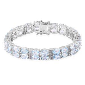 Sky Blue Topaz, White Zircon Sterling Silver Bracelet (8.00 In) TGW 31.31 cts.