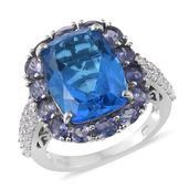 Caribbean Quartz, Catalina Iolite, Cambodian Zircon Platinum Over Sterling Silver Ring (Size 7.0) TGW 13.85 cts.