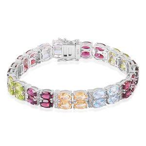 Multi Gemstone Sterling Silver Bracelet (7.50 In) TGW 27.56 cts.