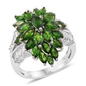Russian Diopside, White Topaz Platinum Over Sterling Silver Cluster Split Ring (Size 5.0) TGW 7.80 cts.