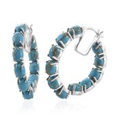 Mojave Blue Turquoise Platinum Over Sterling Silver Inside Out Hoop Earrings TGW 18.35 cts.