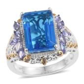 Caribbean Quartz, Tanzanite 14K YG and Platinum Over Sterling Silver Ring (Size 5.0) TGW 9.95 cts.