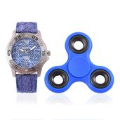 STRADA Japanese Movement Water Resistant Watch with Blue Faux Leather Band & Stainless Steel Back and Blue Finger Gyro