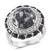 Austrian Pinolith, Thai Black Spinel, Cambodian Zircon Platinum Over Sterling Silver Ring (Size 7.0) TGW 16.43 cts.