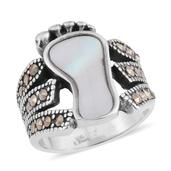 White Mother of Pearl, Swiss Marcasite Black Oxidised Stainless Steel Footprint Ring (Size 8.0) TGW 10.00 cts.