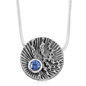 Simulated Blue Diamond Sterling Silver Pendant With Chain (18 in) TGW 0.46 cts.