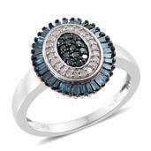 Blue Diamond (IR), Diamond Platinum Over Sterling Silver Ring (Size 7.0) TDiaWt 0.50 cts, TGW 0.50 cts.