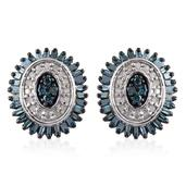 Blue Diamond (IR), Diamond Platinum Over Sterling Silver Stud Earrings TDiaWt 0.50 cts, TGW 0.50 cts.