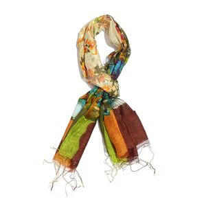 Moss Green, Multi Color Floral Print 65% Silk and 35% Rayon Blend Scarf with Fringe (70x22 in)