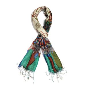 Aqua, Multi Color Floral Print 65% Silk and 35% Rayon Blend Scarf with Fringe (70x22 in)