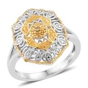 KARIS Collection - Yellow Diamond Accent (IR) ION Plated 18K YG and Platinum Bond Brass Ring (Size 5.0)