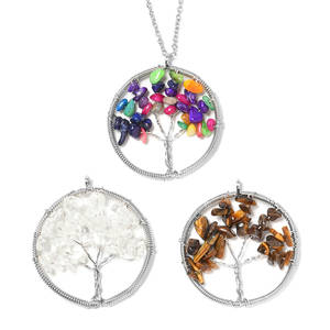 Multi Gemstone Silvertone Set of 3 Tree Pendant With Stainless Steel Chain (24 in) TGW 80.00 cts.