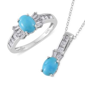 Arizona Sleeping Beauty Turquoise, White Topaz Platinum Over Sterling Silver Ring (Size 5) and Pendant With Chain (20 in) TGW 3.60 cts.