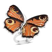 Baltic Amber Sterling Silver Butterfly Ring (Adjustable)