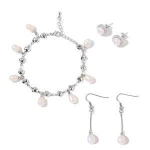 Freshwater Pearl, Simulated White Diamond Silvertone Heart Charm Bracelet and Set of 2 Earrings TGW 3.00 cts.