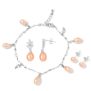 Freshwater Peach Pearl, Simulated Diamond Silvertone Charm Bracelet (6.50 In) and Set of 2 Earrings TGW 2.00 cts.