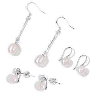 Freshwater Pearl - White, Simulated White Diamond Silvertone Set of 3 Earrings TGW 0.80 cts.
