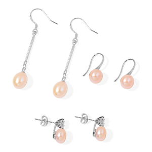 Freshwater Pearl - Peach, Simulated White Diamond Silvertone Set of 3 Earrings TGW 0.70 cts.
