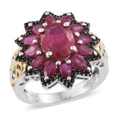 Niassa Ruby, Thai Black Spinel 14K YG and Platinum Over Sterling Silver Flower Ring (Size 5.0) TGW 8.35 cts.
