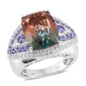 Aqua Terra Costa Quartz, Tanzanite, Cambodian Zircon Platinum Over Sterling Silver Ring (Size 8.0) TGW 12.91 cts.