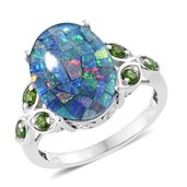 Australian Mosaic Opal, Russian Diopside Platinum Over Sterling Silver Ring (Size 10.0) TGW 6.34 cts.
